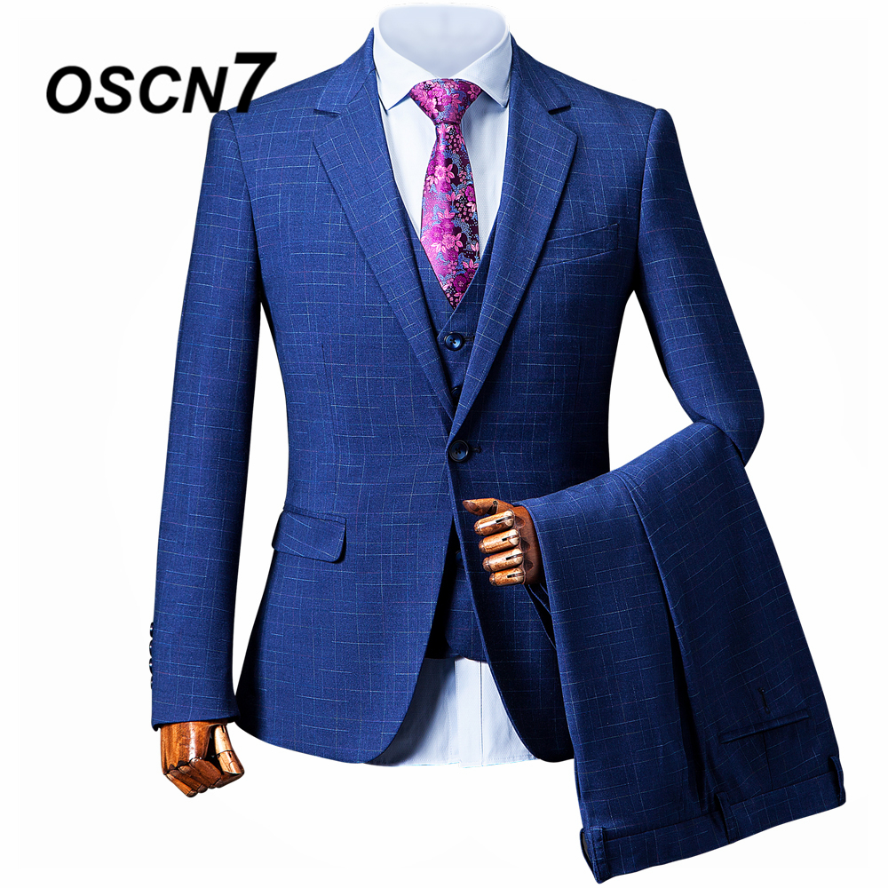 Men's Clothing Suits & Blazers Hearty Oscn7 Blue Check Custom Made Suits Men Slim Fit Wedding Party Mens Tailor Made Suit Fashion 3 Piece Suit Zm-393 Easy To Repair