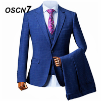 OSCN7 Blue Check Custom Made Suits Men Slim Fit Wedding Party Mens Tailor Made Suit Fashion 3 Piece Suit ZM 393