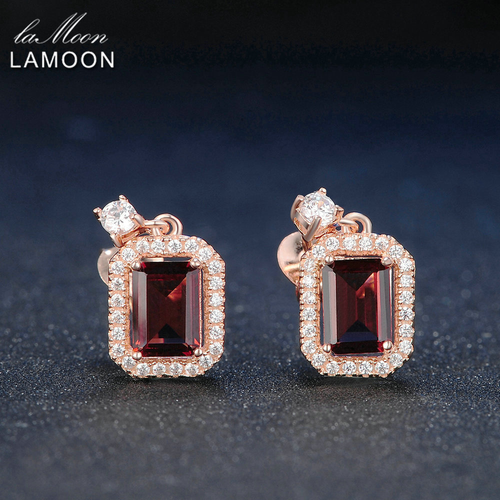 Lamoon Dangle Earring 1.1ct 100% Natural Red Garnet Square Gemstone - Fine Jewelry - Photo 5