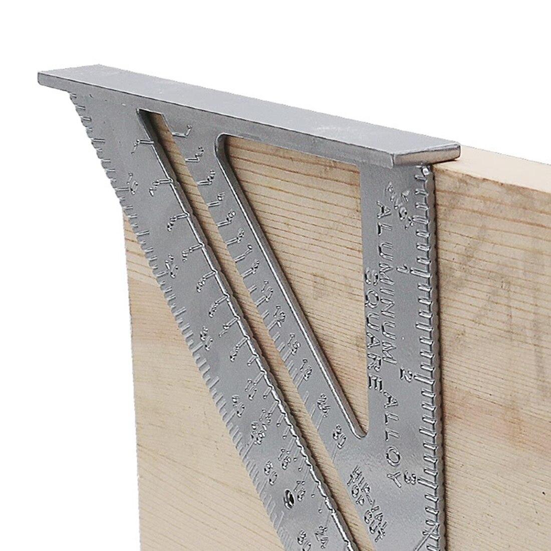 Measurement Inch Carpenter Ruler Speed Square Protractor Aluminum Alloy Miter Framing Tri-square Line Scriber Saw Guide цена