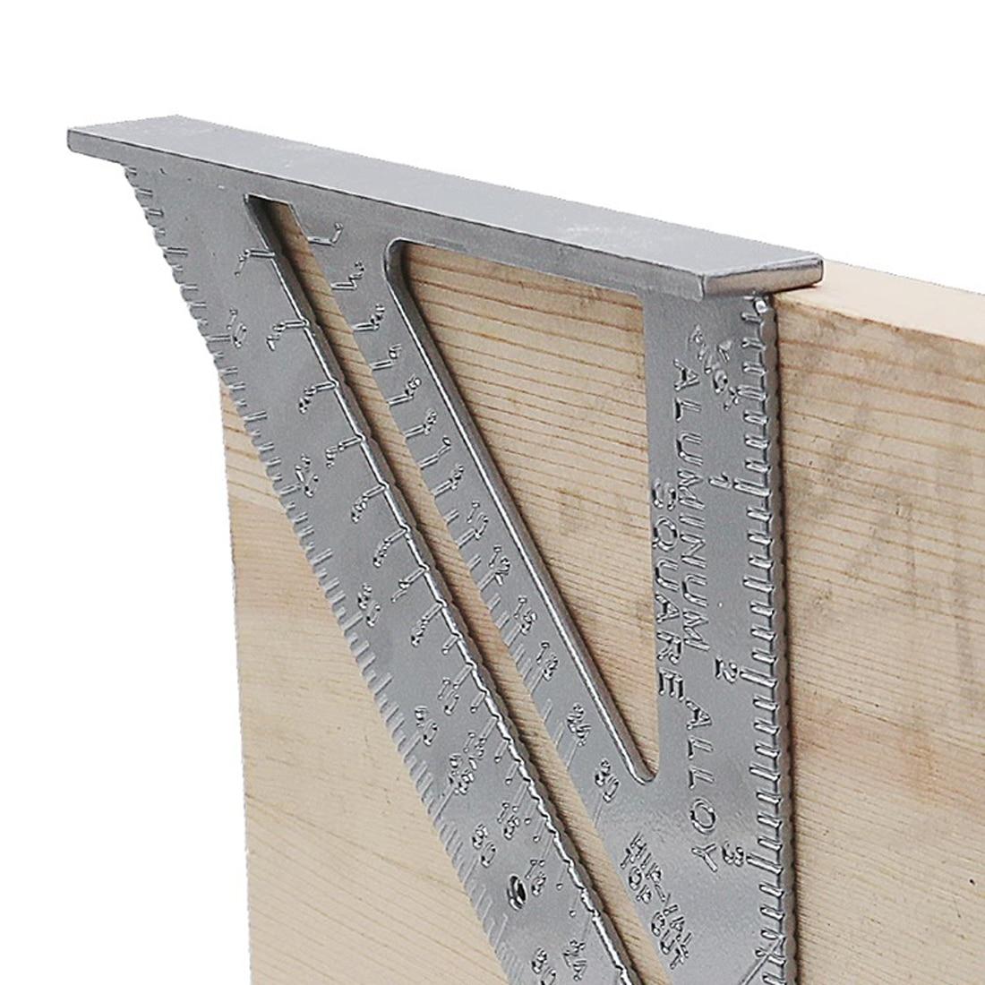 Outil de mesure Triangle règle carrée en alliage d'aluminium rapporteur de vitesse onglet pour charpentier Tri-carré ligne Scriber scie Guide