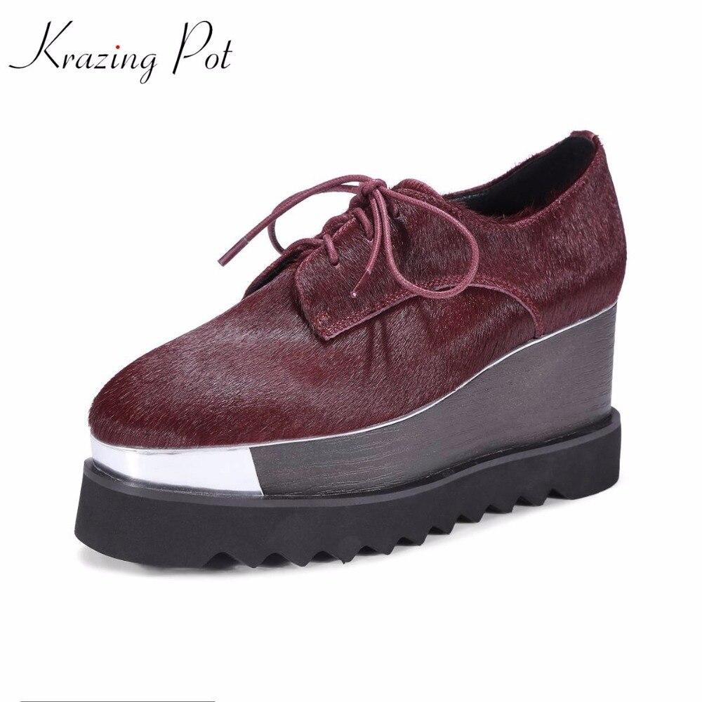 Krazing Pot 2019 crin de cheval femmes bout carré fourrure naturelle femmes cales à lacets solide école britannique superstar chaussures augmentées L58-in Escarpins femme from Chaussures    1