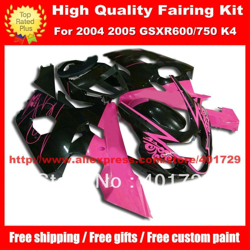 Rose red black fairing set for SUZUKI GSX R600 R750 2004 2005 GSXR600 GSXR750 GSXR 600 750 04 05 K4 free gifts body work