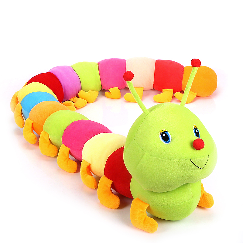 Colourful Caterpillar plush toys Stuffed toy 50cm 60cm 75cm 120cm Big size Stuffed & Plush Animals kids toys Gift цена