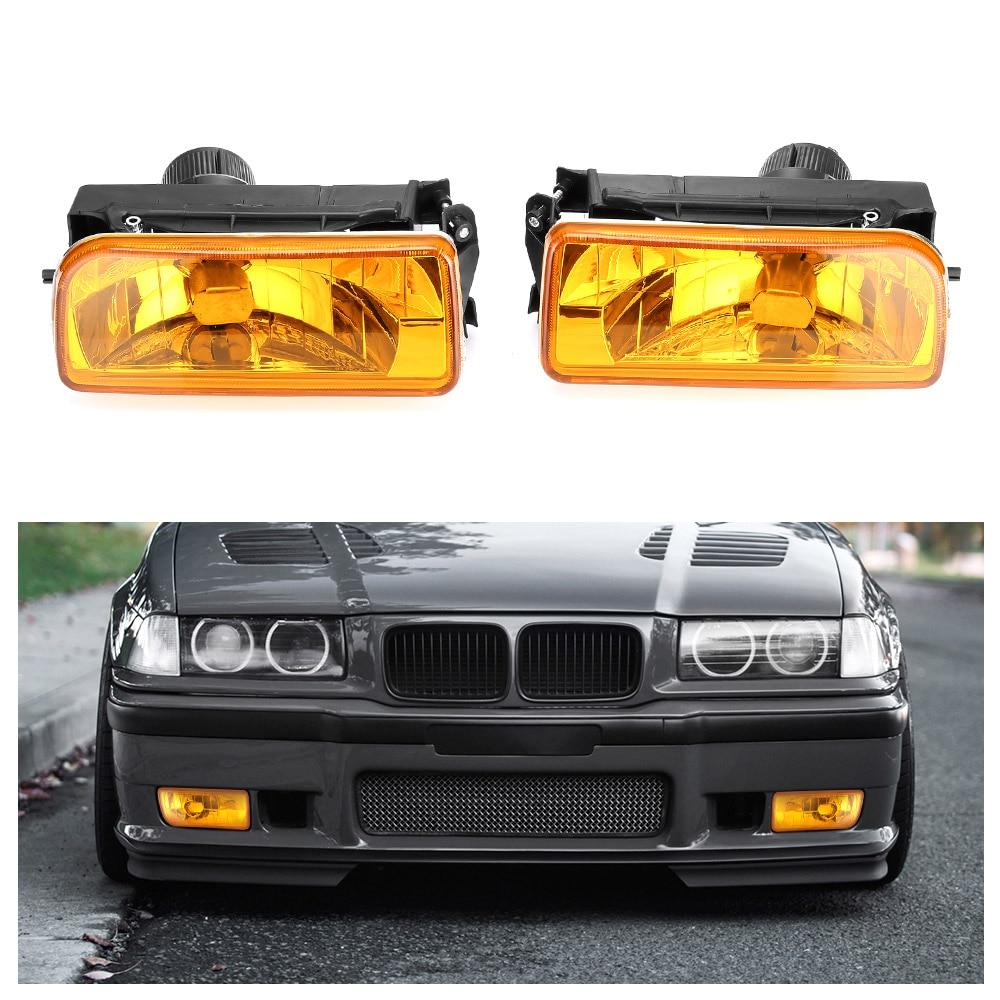 2pcs Car Bumper Fog Lights Clear Lens Housing Case For BMW E36 92-98 Auto Fog Lamp Car-styling