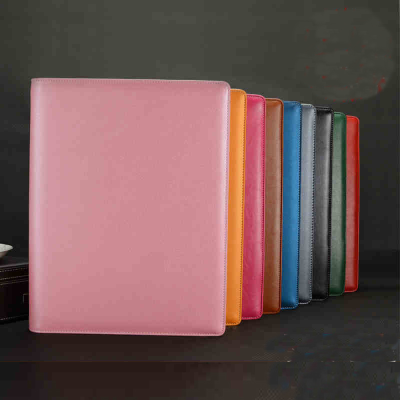 A4 PU Leather Portable Document Bag Portfolio Manager File Folder With Binder Business Briefcase Conference Folder 6 Colors 645
