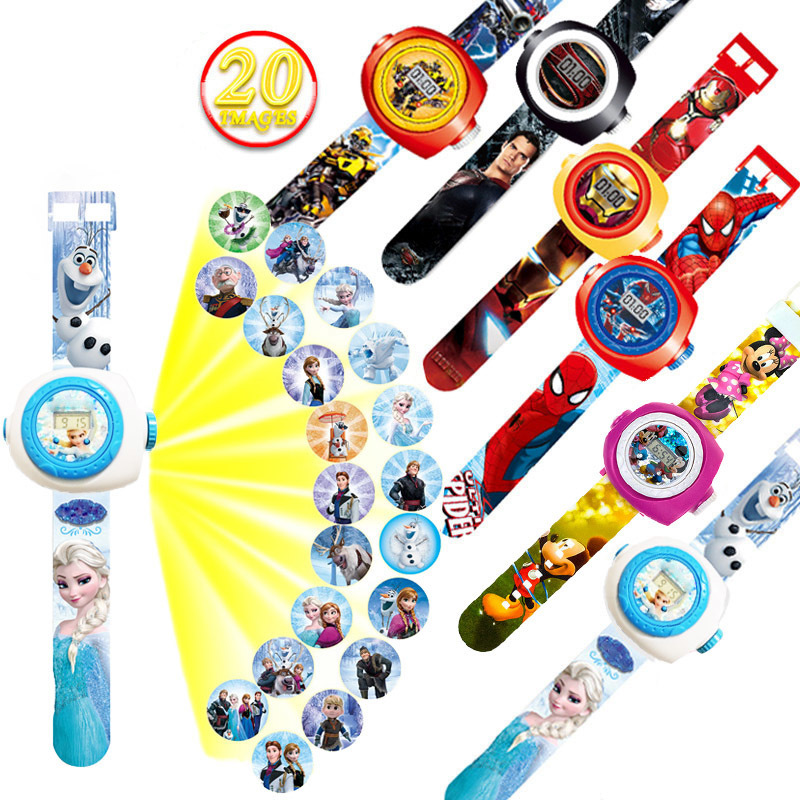 Princess Spiderman Kids Watches Projection Cartoon Pattern Digital Child Watch For Boys Girls LED Display Clock Relogio