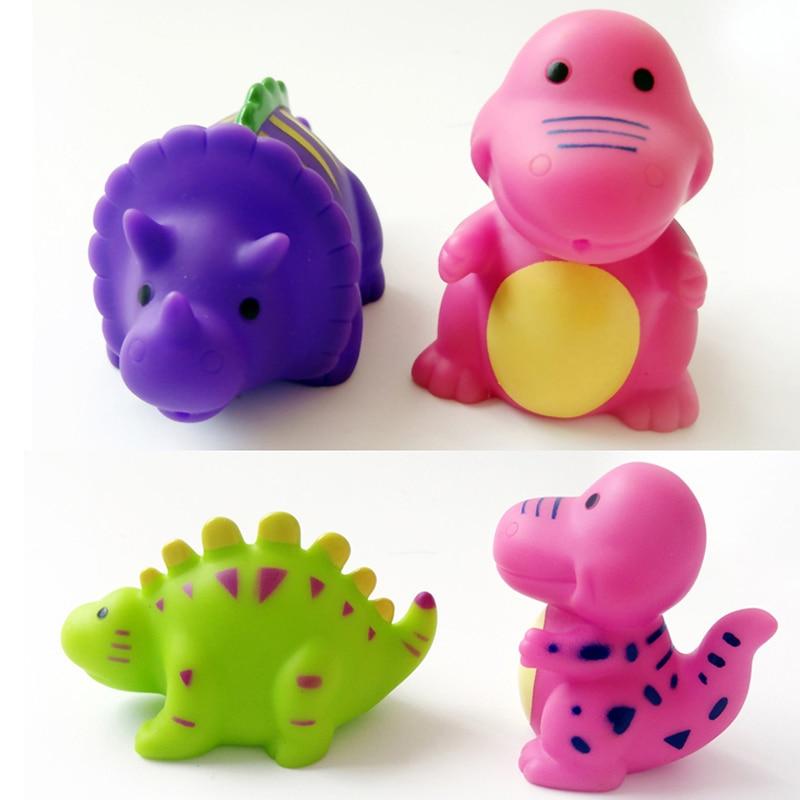 5pcs Lovely 5Pcs Dinosaur Baby Bath Toys 6Pcs Mixed Animals Colorful Soft Rubber Float Bathing Toy Swimming Pool Baby Toys