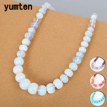 Yumten Natural Gemstone Necklace Opal Jewelry Stone Beads Chain Women Statement Colliers Femme Bijoux Accessories Naszyjnik Men yumten agate necklace gemstone beads natural stone colares women jewelry crystal accessories statement females chain gioielli
