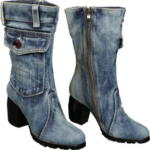 Women Thick Heels Blue Denim Half Boots Lady Winter Short Plush Thick Warm Mid Calf Crystal Knight High Boots Plus Size 40 41 42
