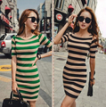 Plus Size XL Hot Sale 2015 Women Summer Dress Sexy Black Green Striped Dresses Package Hip Short Sleeve Casual Dress Vestidos