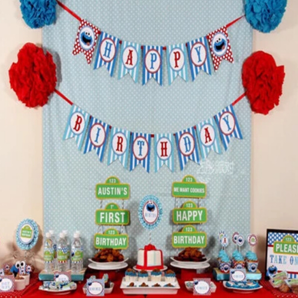 1 set new design sesame street theme birthday bunting happy birthday party garland banners photo booth