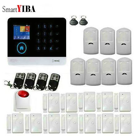 SmartYIBA WiFi GSM Wireless Home Intruder Burglar Alarm Security System with APP controlled/PIR detector/Touch Keyboard Alarm homsecur app controlled wireless gsm burglar intruder alarm system with 4 pet immune pir