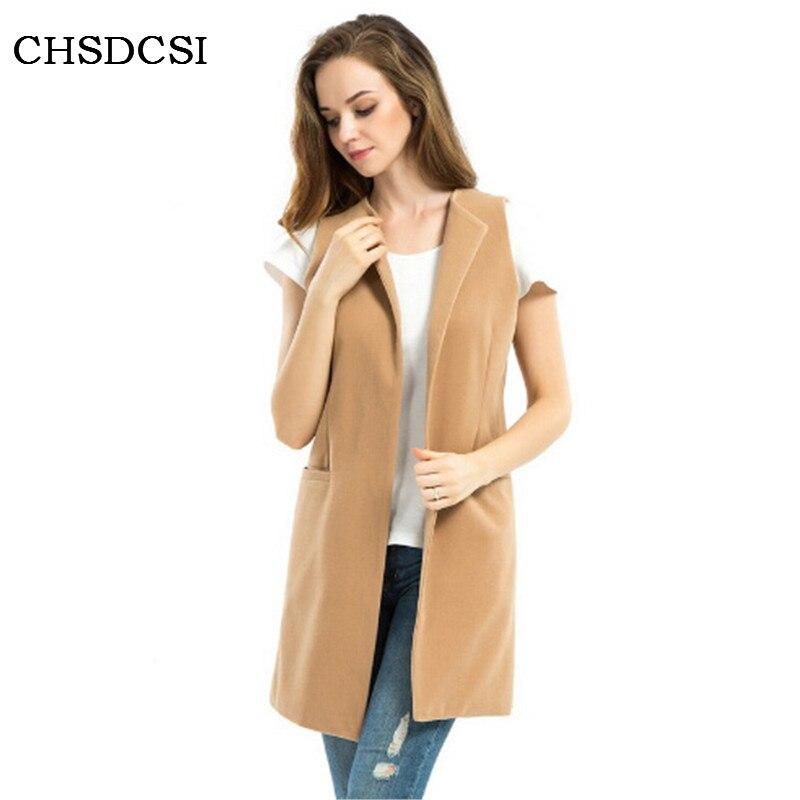 Women Wool Sleeveless Blend Vest Waistcoat Lady Winter Long Camel Vest Colete Jacket Coat Plus Size Veste Femme Gilet Femme S229