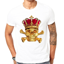 Novelty Fashion print t-shirt Gold Skeleton King Fashion white t-Shirt Comfortable Tops New Summer T-Shirt Cool Men Summer Shirt