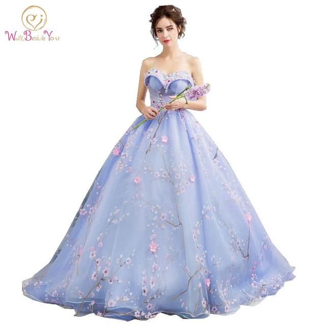 Robe Tulle Prom Dresses Long Party Dresses Puffy Ball Gown Sweetheart Pearl Lace Applique Print Sweep Train Evening Dresses