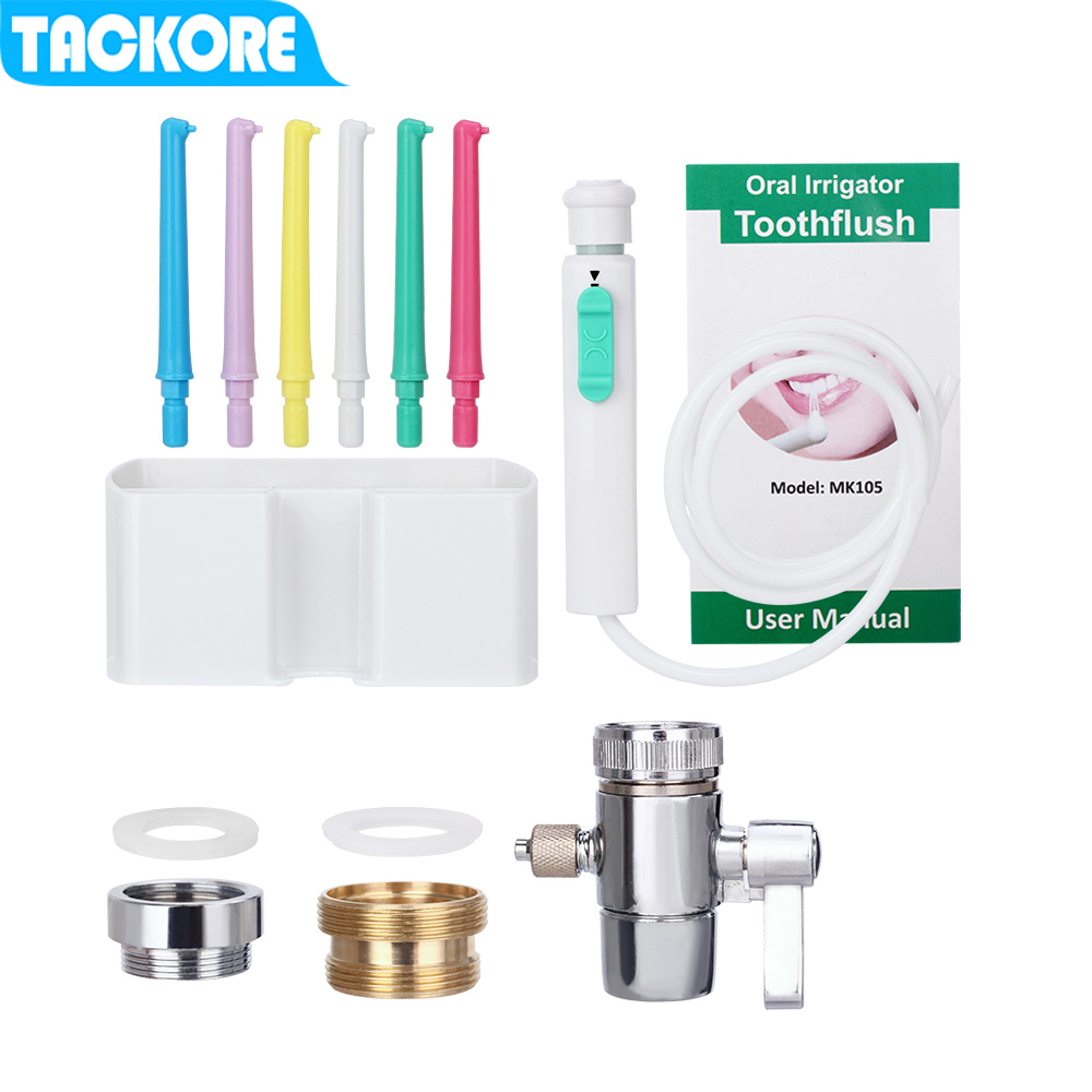 Tackore Flexible Oral Irrigator Faucet Water Dental Flosser SPA Dental Flosser Oral Irrigator  Faucet Water Jet Floss Tooth