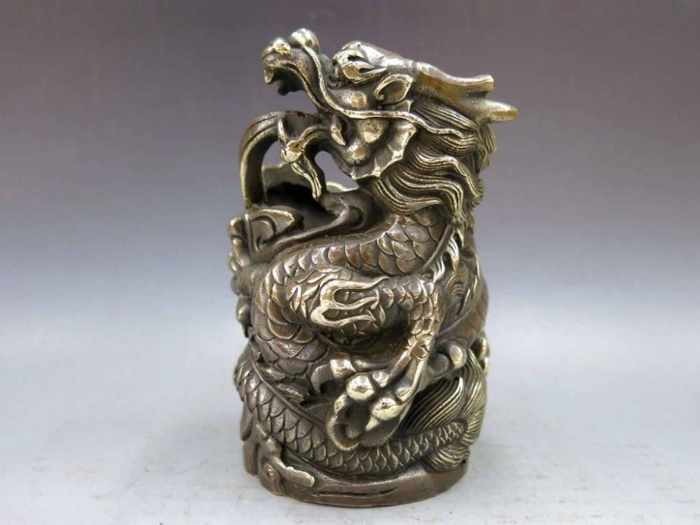 Chine laiton cuivre Animal Dragon Statue stylo conteneur crayon vase brosse pot