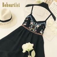 Bohoartist summer dresses spaghetti strap bare shoulder embroidery vacation beach sexy 2018 new bohemian summer women dresses