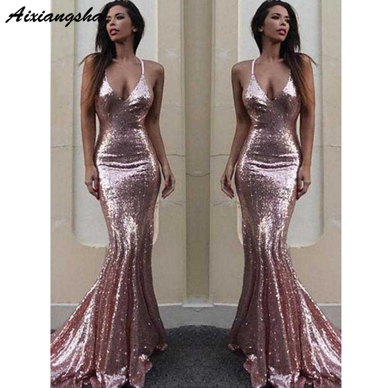 025df938bb Sexy Backless Rose Gold Sequin Mermaid Evening Prom Dresses V-neckline  Spaghetti Straps Custom Long Party Prom Dress
