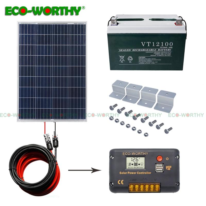 ECO 100W Solar Panel Kit 100ah Solar Power Battery for Charging 12V System Solar Kit For Home