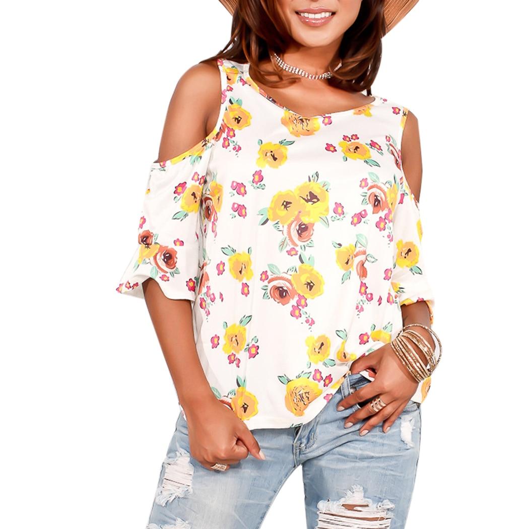 Fashion Cold Shoulder Women Shirt Blouse Flare Sleeve