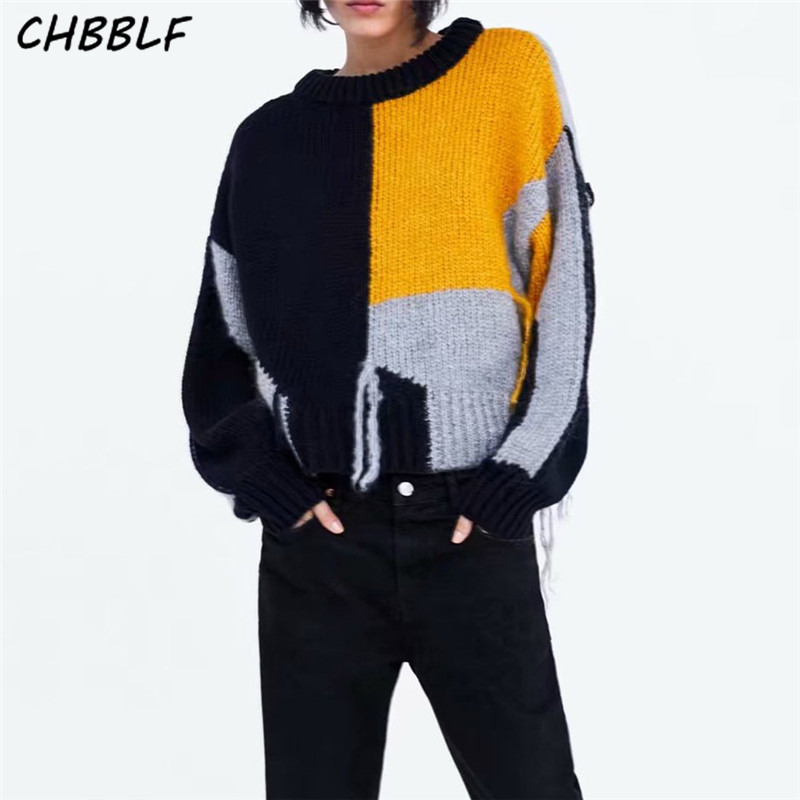 CHBBLF Knitted Sweaters Tops Pullovers Female Long-Sleeve Loose Women Chic Casual Tassel