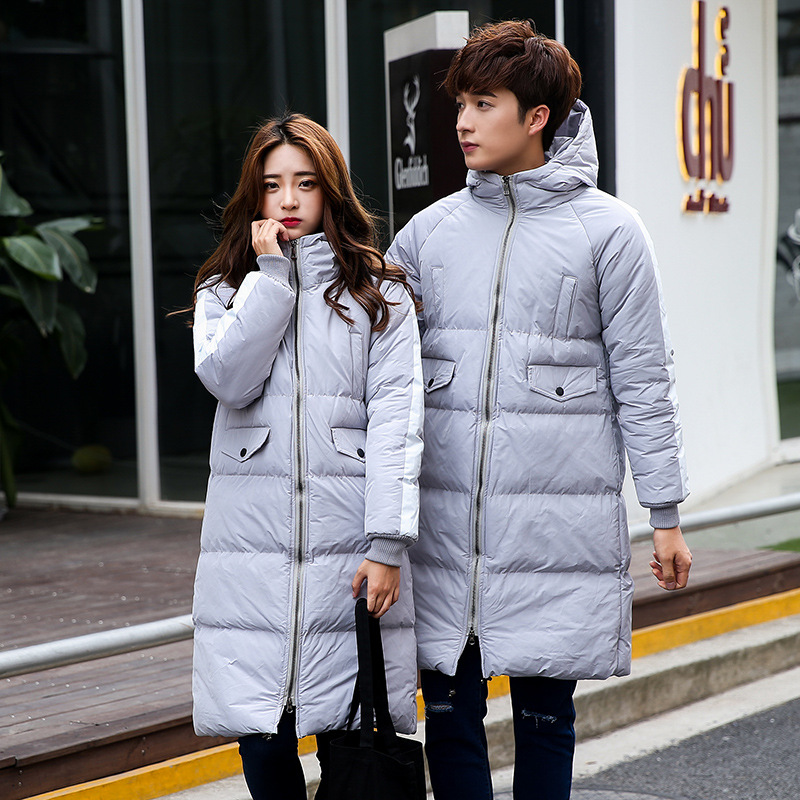 Uwback Men's Winter Parkas 2017 Couple Coats With Hooded Printed Letter Thick Parkas Homme Fashion Warm Slim Long Jackets XA357