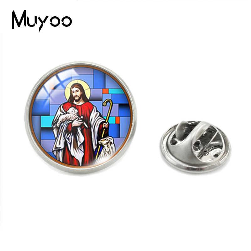 Yesus Hati Tuhan Suci Yesus Lukisan Kaca Kubah Bulat Kerah Pin Yesus Jantung Putra Allah Yesus Perhiasan Pin Pakaian pin Hadiah