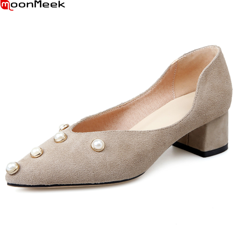 MoonMeek 2018 spring autumn high heel pumps women shoes with square heels slip on shallow pointed toe casual woman shoes spring autumn shoes woman pointed toe metal buckle shallow 11 plus size thick heels shoes sexy career super high heel shoes