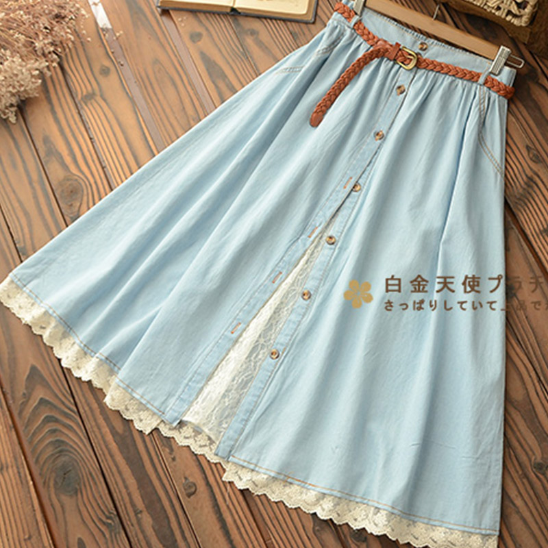Casual Women Denim Skirt With Belt Solid Sky Blue Lace Hem Female Mid Calf Skirt High Waist U157