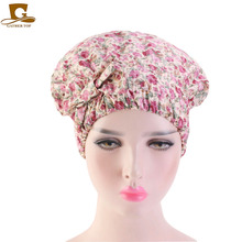 Newest Design Women Cotton Bowknot Bonnet Colorful Wide Elastic Band Solid Night Sleep Hat Wrap Pleated