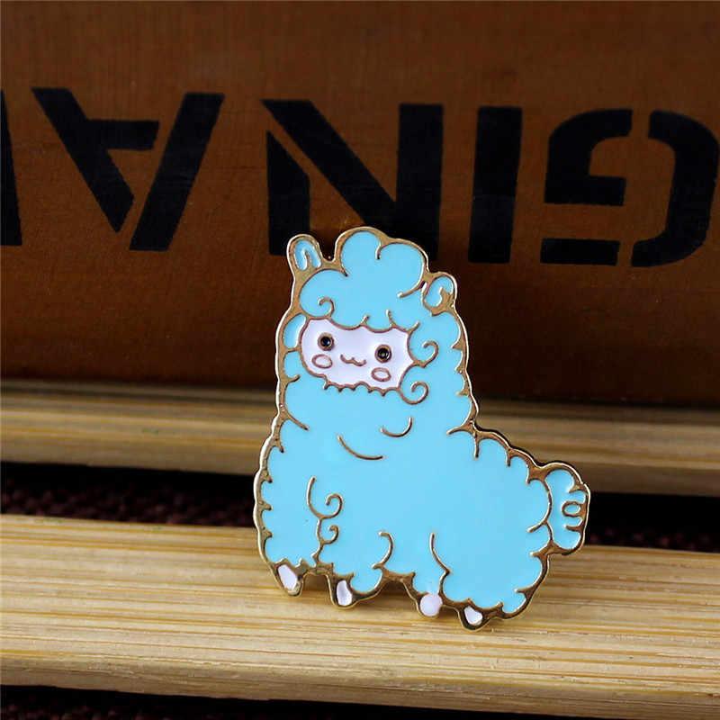 ENZE popolare donna dei monili Dello Smalto Colorato Fulvo Blu di Pecora Coniglio Brooch Animale per Paio di Accessori Spilli Distintivo per Gli Uomini