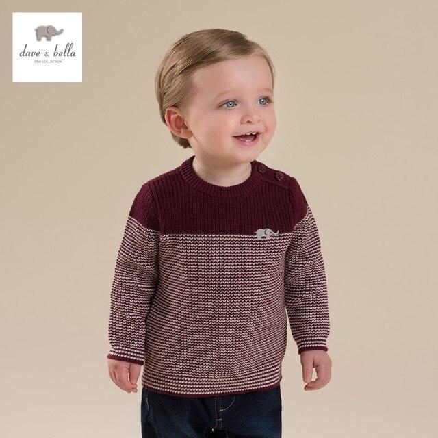 DB4657 davebella  baby boys burgandy navy striped elephant embroidery sweater