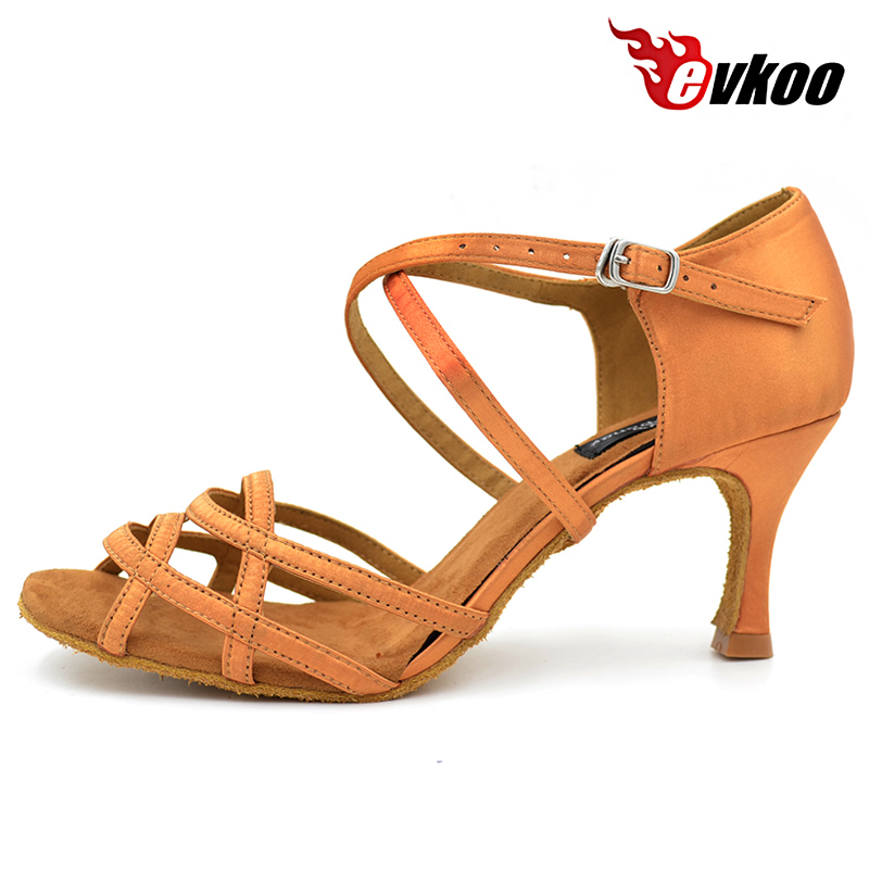 Evkoodance Zapatos De Baile Satin Black And Tan Color For Your Choice 7.3cm Heel Height Latin Dance Shoes For Ladies Evkoo-068 jupe de satin пальто
