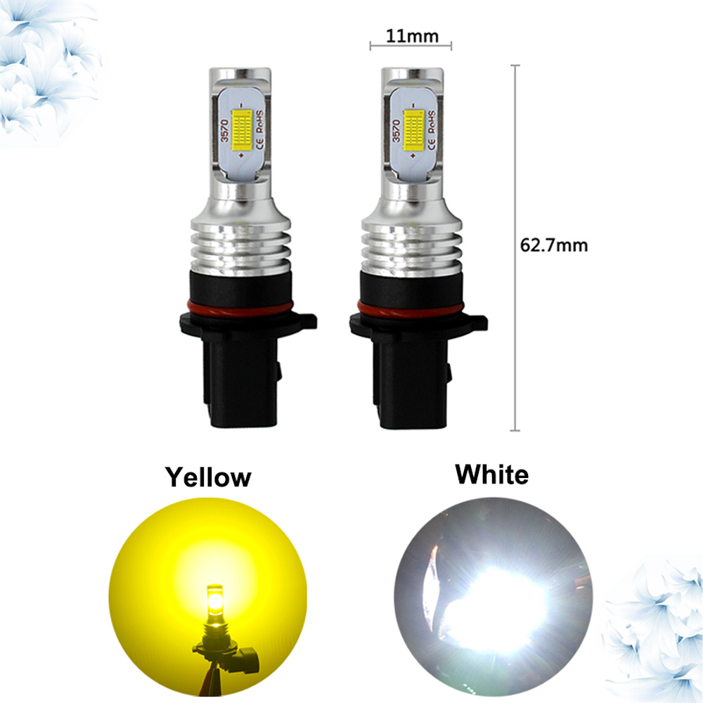 2pcs Car LED Fog Lamp Canbus High Power Yellow P13W 72W CSP LED Fog Bulbs Universal Daytime Running Lights,P13w LED Bulb White