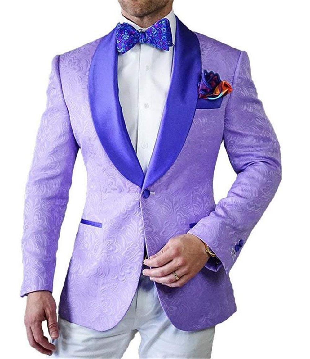 2020 New Mens Patterned Suit 2 Pieces Lilac Shawl Lapel Slim Fit Casual Blazer Tuxedos Groomsmen For Wedding(Blazer+vest+Pants)