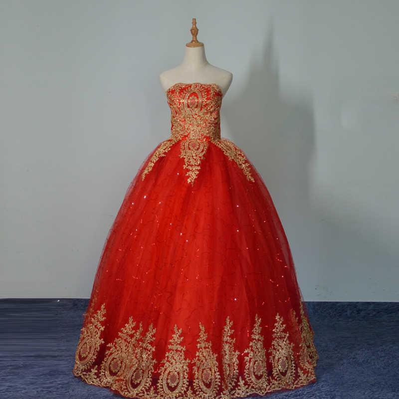 2020 Nuovo Abito di Sfera Del Merletto di Tulle Rosso Abito da Sposa con La Coda Modello Cinese di Stile a Buon Mercato Della Cina Del Ricamo Abito da Sposa