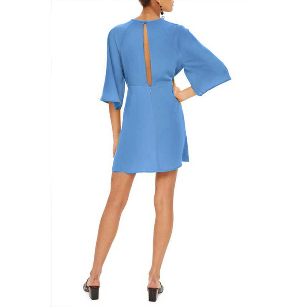 2018 Yeni stil Moda Yaz kadın casual şifon elbiseler flare kol gevşek elbise bayanlar O-Boyun mavi elbise