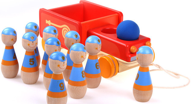 New wooden toy Wooden fire truck Children Bowling Toy Car Baby Free shipping
