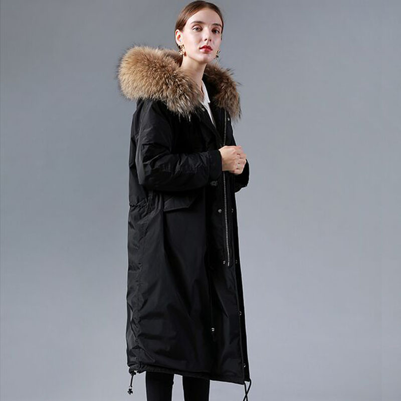 Big Real Natural Raccoon Fur 2019 Winter Jacket   Coat   Women White Duck   Down   Jacket Thick Warm Female Jacket Long Plus Size Parka