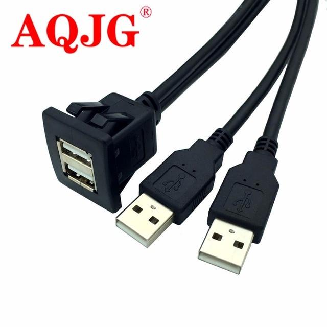 Yeni USB2.0 Gömme Montaj Kablo 1 M/2 M Çift/Tek USB Port Uzatma Floş Dashboard Paneli Dağı Araba Tekne Motosiklet için kablo