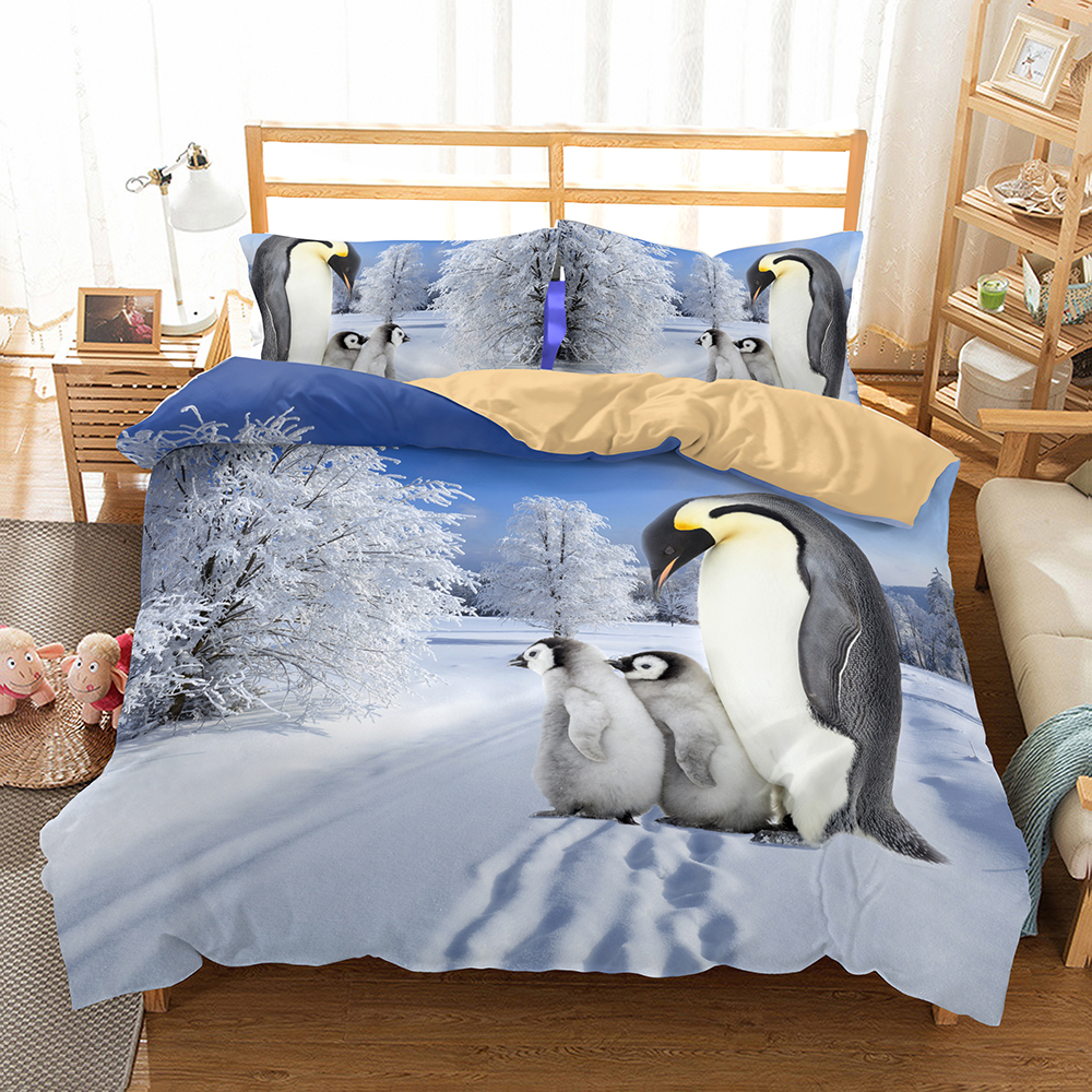 Fanaijia Penguin Bedding Set queen size kids animal duvet Cover With Pillowcases bedclothes 3D bed sets Home textile