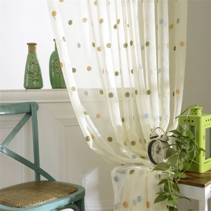 Cute Circle Embroidery Cartoon Curtains For Living Room Bedroom Children's Room Sheer Tulle Curtain Modern Home Decoration T57#3