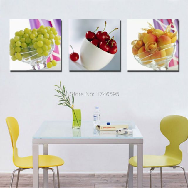 Big 3pcs Modern Home Wall Decoration Restaurant Dining Room Art Decor Fresh Fruit