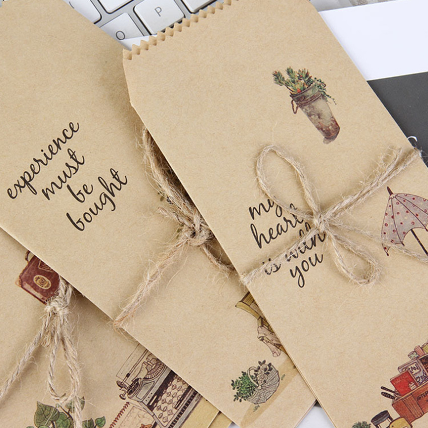 5Pcs/pack Those Small Things Kraft Paper Envelope Message Card Letter Stationary Envelopes Office School Supply