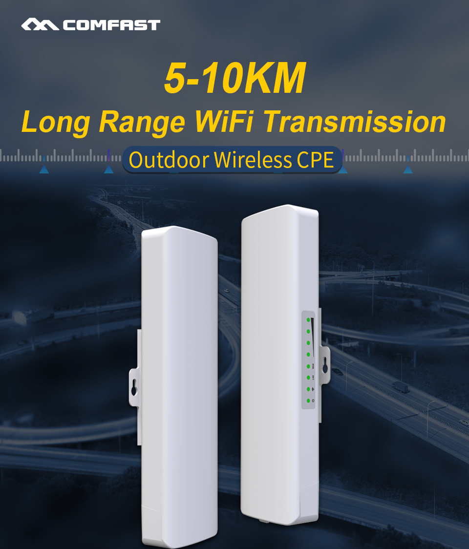 2pc COMFAST 5KM 5.8GHz Outdoor CPE Wireless WiFi Repeater 300Mbps Extender Router AP 2*14dbi Antenna Access Point Signal Booster