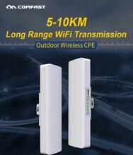 """במלאי! COMFAST ארוך טווח 5 ק""""מ חיצוני אלחוטי AP נתב Wi fi גשר 300Mbps 5Ghz WIFI CPE 2 * 14dBi WI FI אנטנה Nanostation"""