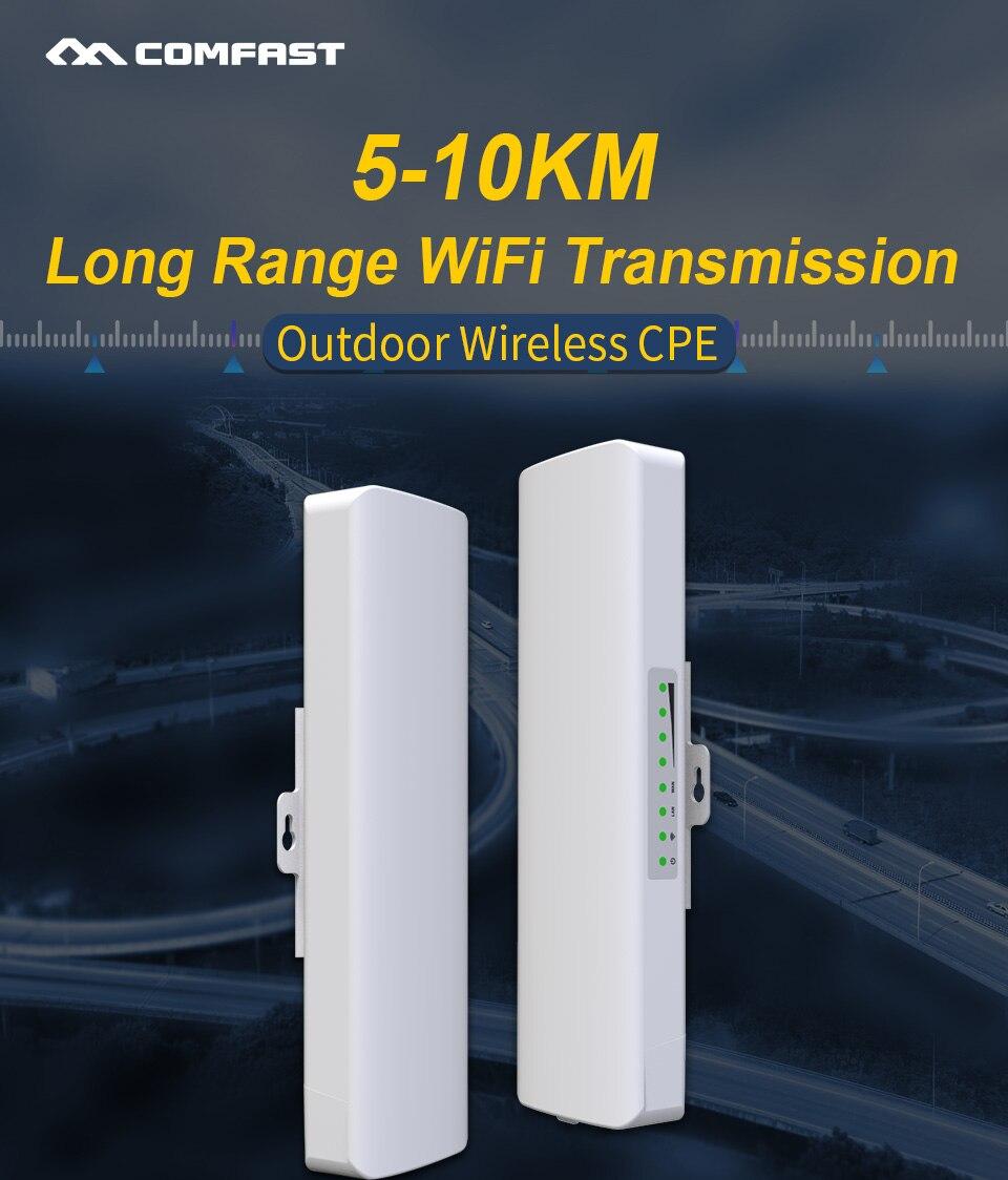 Comfast de longa distância 5-10 km exterior sem fio ap roteador wi-fi ponte 300 mbps 5.8 ghz wifi cpe 2 * 14dbi wi-fi antena nanostation