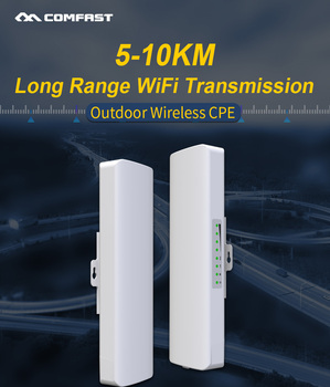 In Stock !COMFAST Long Range 5KM Outdoor Wireless AP Router Wi-fi Bridge 300Mbps 5Ghz WIFI CPE 2*14dBi WI-FI Antenna Nanostation